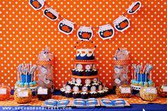 Logan's 2nd Goldfish Birthday Party - Orange, Blue, Polka Dots