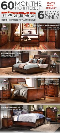 Today is day 1 of the #6DaysOnlySale where you can get any of these bedroom sets at 60 months, NO INTEREST!