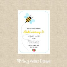 Buzz on By Printable Invitation by AmyMattesDesigns on Etsy, $12.99