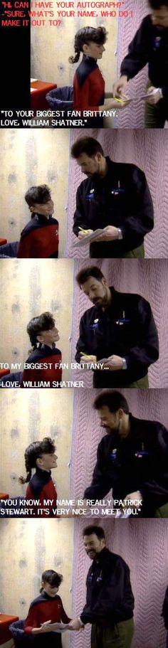 """Captain Jean-Luc Picard"" encounters a Star Trek fan…Hahaha playful commander Riker"