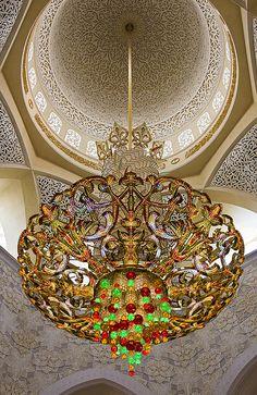 World's largest Swarovski chandelier inside the Sheikh Zayed Grand Mosque in Abu Dhabi, United Arab Emirates (by daveleau).**.