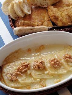 Carolyne Roehms baked Pecorino Cheese with Honey & Walnuts. by glenda