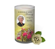 3x6 Glass Candles : Bouquet Custom Photo Memorial Glass Candle 3x6