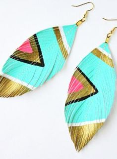 Aztec print feather earrings!