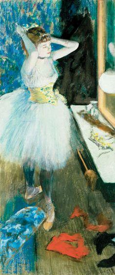 Dancer in Her Dressing Room (c. 1879; pastel and peinture à l'essence on canvas, 34 5/8 x 15 7/8) by Edgar Degas, Cincinnati Art Museum