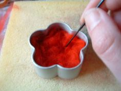 Needle felting using a cookie cutter