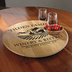 Personalized American Oak Chateau Lazy Susan at Wine Enthusiast - $139.95