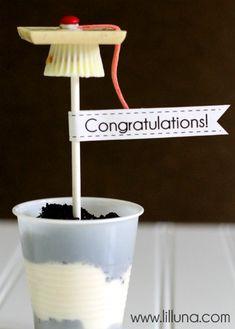 Graduation Cap Pudding Cups