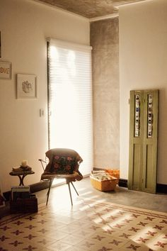interior, old shutters, green doors, tiles, floor, morning light, a frame, painted doors, old doors