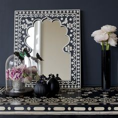 Bone-inlay Indian arch mirror. This would be so lovely even without the inlay.
