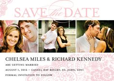 Save the Date Card with photo - Wedding Lace