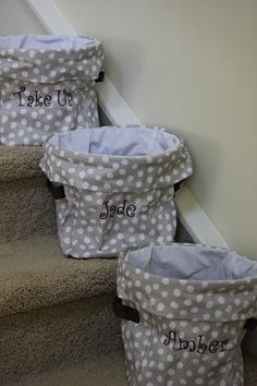 Mini utility bins ($22) stuff that needs to GO UP the stairs. www.mythirtyone.com/213714