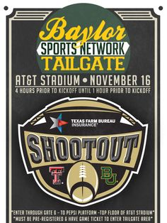 Headed to see #Baylor football play at AT&T Stadium in Dallas? Come by the Baylor Network Tailgate beforehand! (click for details)