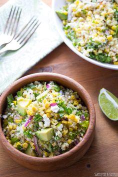 Charred Corn Salad with Feta, Mint  Quinoa. This delicious-sounding recipe comes from sweetpeasandsaffron.com.