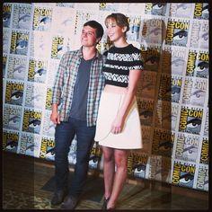 Josh Hutcherson and Jennifer Lawrence in the press line at San Diego Comic-Con, 2013.