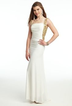 heavy beaded strap bar back Prom dress from Camille La Vie and Group USA