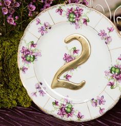 "Inspired by elegant tea parties complete with Champagne and macarons these table numbers will add a vintage touch to you event. Each plate varies in pattern and size. Dimensions: Varies from 4""- 7""Price is per number. Add the quantity needed to your cart and confirm which numbers you'd like to receive in the ""notes to seller"" section upon checkout.Each order is hand crafted in our studio. Please allow 2-3 weeks before shipment. Should you require a rush order p..."