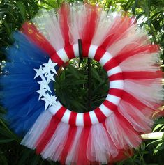 Fourth of July Tulle Wreath Red white and blue Flag by ReveDeTulle.