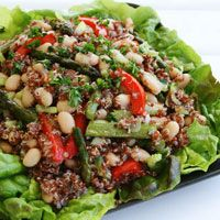 Quinoa salad with roasted asparagus and white beans. yum