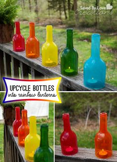Wine Bottle Craft Upcycle into Rainbow Decor @savedbyloves @Alissa Huybers Crafts