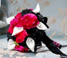 Hot Pink Black, White Silk Flower Wedding