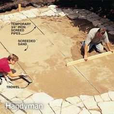 """""""Build a Stone Patio or Brick Patio"""" - Maybe use some of these ideas to build the raised stone bed?"""