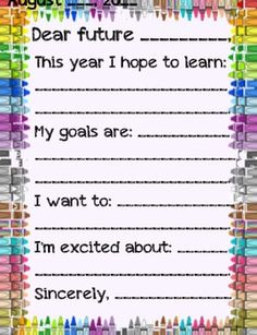 This activity is done in the first/last weeks of school. Students write letters to their future/past self and set goals for the year, reflect on th...