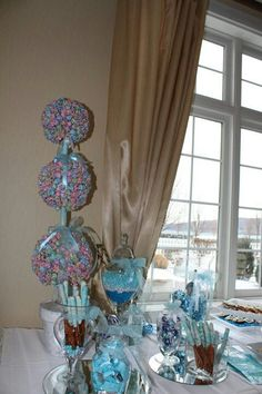 baby shower candy table blue and green baby shower pinterest
