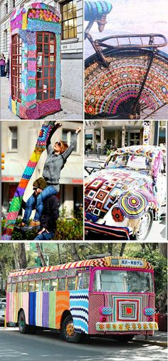 A collage of colorful #yarn bombings. #knit