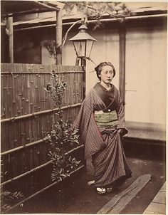 """Shinichi Suzuki (Japanese, 1835–1919). [Japanese Woman in Traditional Dress], 1870s. The Metropolitan Museum of Art, New York. Gilman Collection, Museum Purchase, 2005 (2005.100.505 (17b))   Inscribed in pencil on mount, recto BC: """"Summer walking dress"""""""