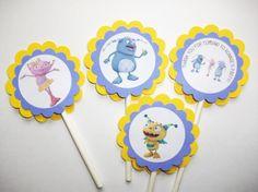Henry Hugglemonster themed cupcake toppers - 1 Dozen