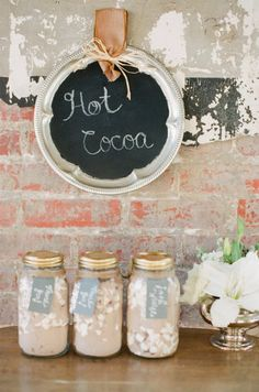 gift, wedding favors, hot chocolate, jar, sweet treats, chalkboard, winter weddings, flower, hot cocoa