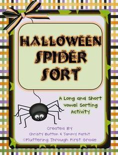 *FREE* Halloween Spider Sort~Long and Short Vowel Sorting