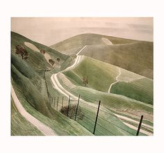 'Chalk Paths', a watercolor by Eric Ravilious, 1935