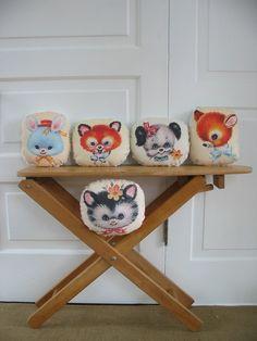 Animal Pillows Cat pillow Dog Pillow Fox Pillow Deer Pillow Bunny Pillow - by Vintage Jane on etsy (14 dollars each)