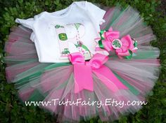 Infant Pink John Deere Tutu Set Baby Shower Gift Size by TutuFairy, $35.00