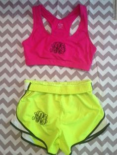 Monogrammed Hot Pink Sports Bra and Running by LettersByLexy,