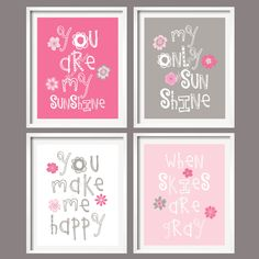 Nursery Print - You Are My Sunshine - Pink and Grey with Flowers - 8x10 wall art, baby shower gift, boy and girl colors. $59.99, via Etsy.