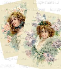2 VICTORIAN BEAUTIES Tree BLOSSOMS Fashion Ruffle by ImageChateau, $2.75