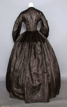 SILK DAMASK MOURNING GOWN, c. 1855
