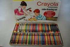 Vintage 1958 Crayola Crayons Drawing Set No. 72 with rare colors.