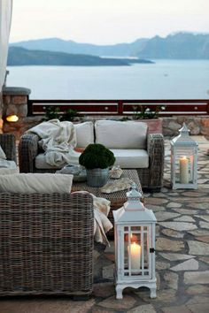 Outdoor furniture. wicker. lanterns.