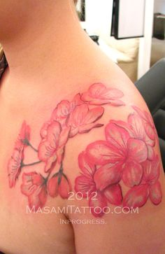 shoulder cherry blossom tattoo