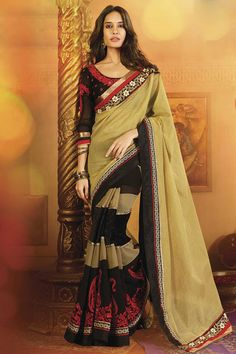 Spectacular Black and Beige Embroidered #Saree