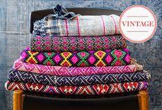 Stacked colorful blankets - via One Kings Lane #decor #vintageblankets #colorfuldecor