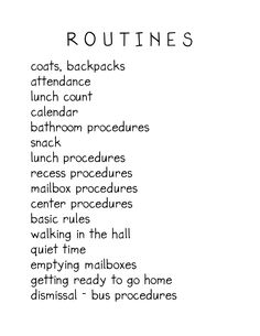 List of routines  A nice reminder of ALLLL the routines I get to re-teach at the beginning of the school year.  :-)