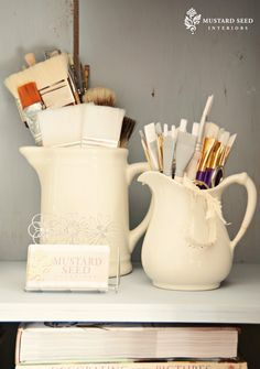 Use cracked, or otherwise unusable pitchers, to store other things.