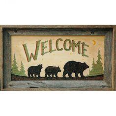Bear Welcome Sign - 20x10 Print in Barnwood Frame