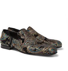 Jimmy ChooSloane Paisley-Embroidered Velvet Slippers  $795