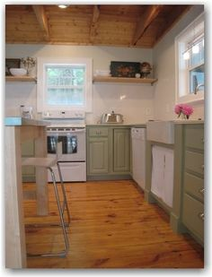 Green Cabinets  white appliances